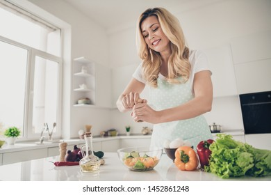 Portrait of nice attractive cheerful wavy-haired lady making healthy weightloss vitamin tasty yummy delicious dinner lunch in light white interior kitchen indoors