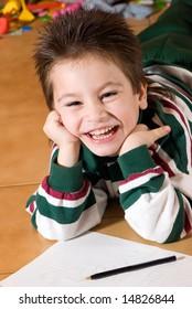 Portrait of the nice boy of preschool age