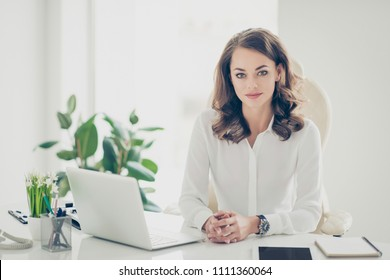 Portrait of nice, calm, confident, gorgeouse business shark, agent, expert with curly hair, hairdo sitting at desktop in modern work place, station looking at camera