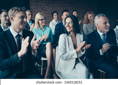 Portrait of nice cheerful beautiful handsome elegant classy chic stylish trendy executive managers sharks listening corporate classes course lecture at industrial loft style interior room work place