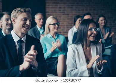 Portrait of nice cheerful beautiful handsome elegant classy stylish trendy top executive managers attending classes clapping palms congrats at industrial loft style interior room work place station