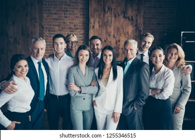 Portrait of nice cheerful elegant classy stylish trendy professional diverse business people sharks gathering international company founders at workplace station wood loft interior