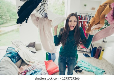 Portrait of nice cute attractive charming pretty cheerful cheery positive girl student throwing many different new things day dream daydream in light white interior room