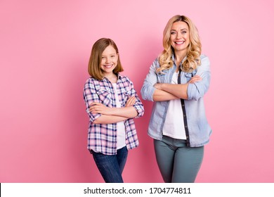 Portrait of nice cute charming mother daughter cross hands enjoy decide work job decision solution wear denim jeans checkered plaid shirt isolated over pastel color background