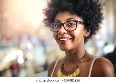 Portrait of a nice girl smiling.