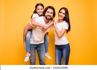 Portrait of nice lovable sweet lovely attractive charming tender gentle cheerful dreamy cheery people mom dad pre-teen girl isolated over shine vivid pastel yellow background
