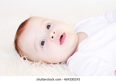 Portrait of nice lovely baby age of 5 month