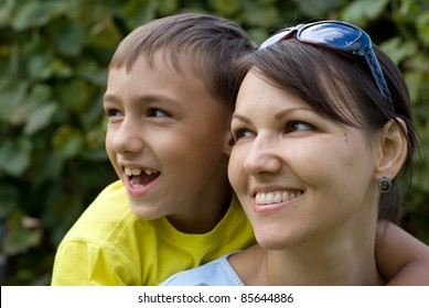portrait of a nice parent with kid