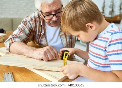 Portrait of nice senior man helping little boy build birdhouse, teaching him woodwork at table in studio