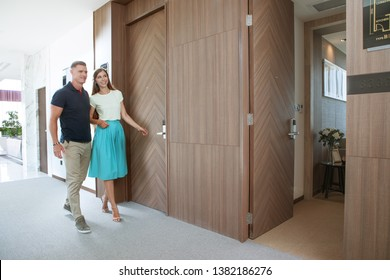 portrait of nice young couple in  condo house  environment