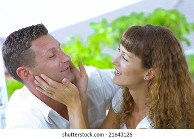 Portrait of  nice young couple having fun together