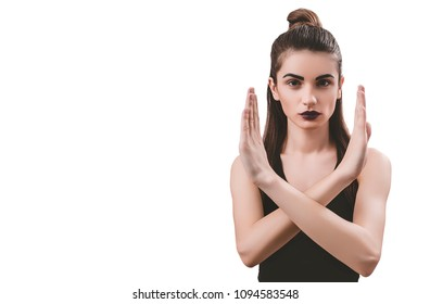 Portrait of nice young gorgeous woman on white backgrounds. To a lots of copy space.