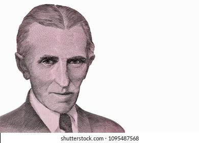 Portrait of Nikola Tesla, famous inventor, on banknote (former Yugoslavia, dinars). Close Up UNC Uncirculated - Collection.