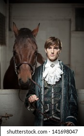 Portrait of a nobleman and his horse.