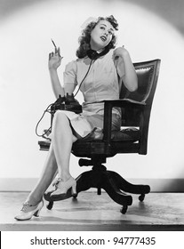 Portrait of nurse talking on telephone