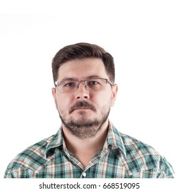 Portrait of Office worker. Male 30 years old, caucasian. With glasses