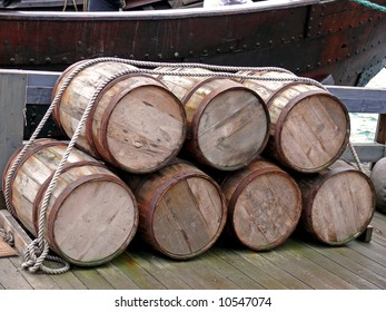 portrait of old ancient stock oak barrels