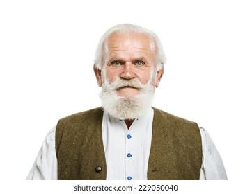 Portrait of old bearded man, posing in studio on white background