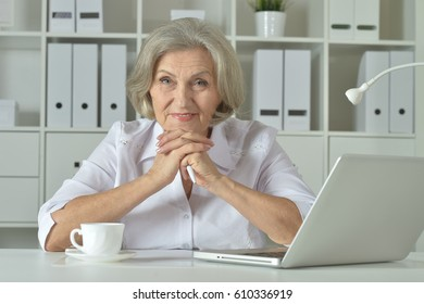 Portrait of a old business woman using laptop