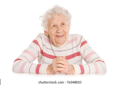 Portrait of old elderly woman isolated on white