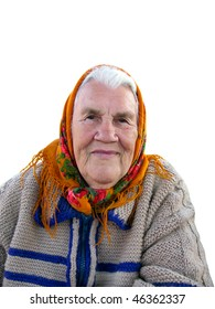 Portrait of the old grandmother on white background