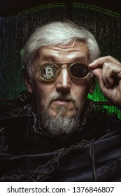 Portrait of an old man with bitcoin in glasses, the personification of a stockbroker.