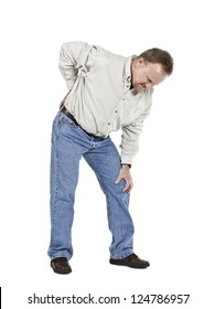 Portrait of an old man having a physical pressure on his back and knee against white background