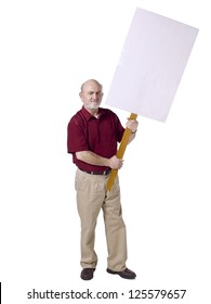 Portrait of an old man holding a wooden stick with a white board banner