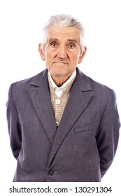 Portrait of an old man looking at camera isolated on white background