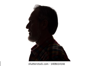 Portrait of a old man, unshaven, with beard, side view - dark isolated silhouette - Shutterstock ID 1408614146