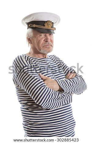 Portrait of old sailor man in striped shirt and hat isolated on white  background a20323e2245