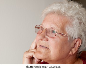 portrait of an old woman with gray hair