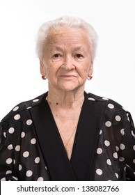 Portrait of old woman on a white background
