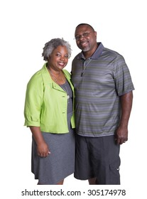Portrait of an older couple standing close isolated