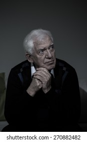 Portrait of older lonely man with depression