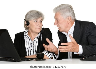 portrait of older people working on a white background