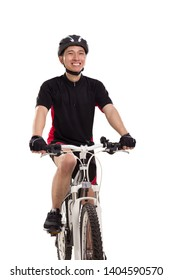 Portrait of one happy bike rider fun cycling isolated over white background