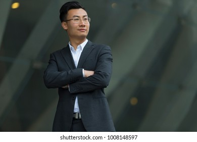 portrait of one young asian businessman
