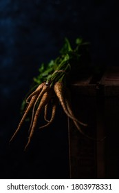 Portrait of organic carrots on rustic wooden crate, on black background.