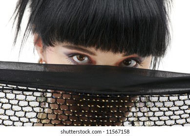 portrait of oriental girl with black fishnet cloth