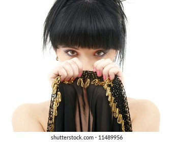 portrait of oriental girl with black and gold cloth