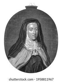 Portrait in oval frame of Louise Francoise de La Baume Le Blanc de la Valliere, after she joined the Order of Carmelites and adopted the name Louise de la Misericorde - Shutterstock ID 1958811967
