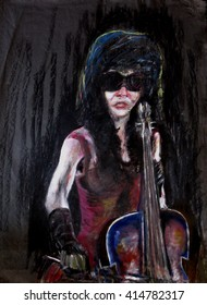 Portrait Painting of masked female musician playing the cello