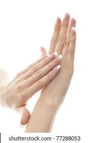 Portrait of a pair of hands. Isolated white background.