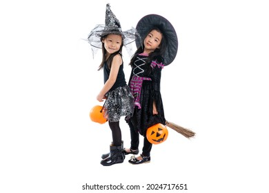 Portrait pair of little girls in Halloween and carnival costume ride the wooden broom isolated on white background