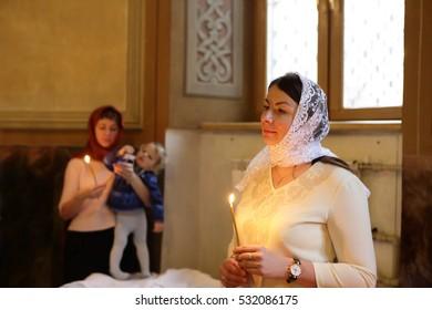Portrait of parishioners in a russian orthodox church