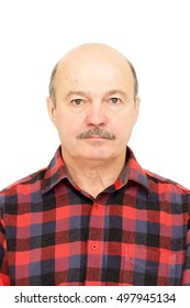 Portrait for passport. Elderly old man  with mustache, bald man in plaid shirt