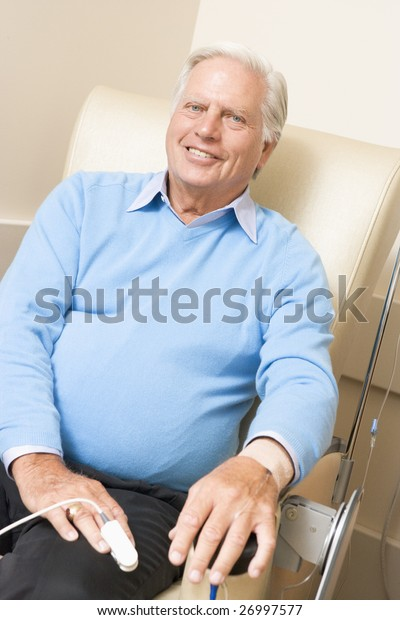 Portrait Of A Patient Being Monitored, Having Chemotherapy