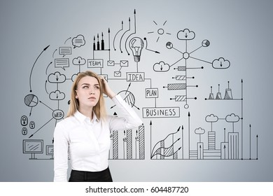 Portrait of a pensive blond businesswoman standing near a gray wall with a business scheme drawn on it.