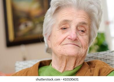 Portrait of a pensive senior woman
